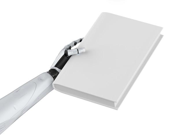 3d-rendering cyborg houdt blanco pagina's boek geïsoleerd op wit