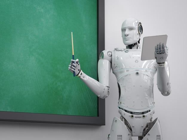3d-rendering cyborg leraar lesgeven met leeg schoolbord