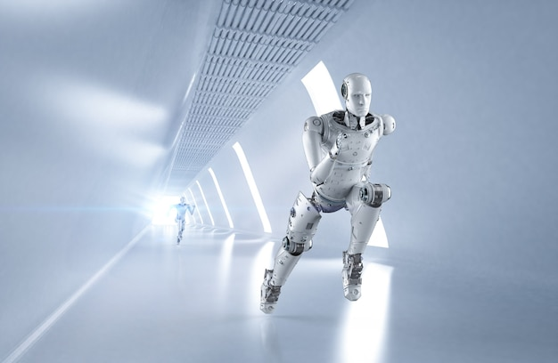 3d-rendering cyborg loopt met hoge snelheid in competitie
