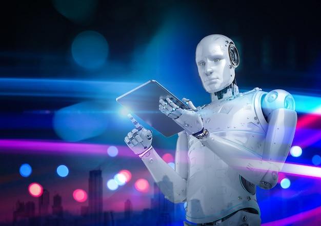 3d-rendering cyborg of humanoïde robot die werkt met digitale tablet