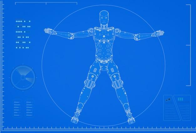 3d-rendering cyborg of robot blauwdruk met schaal op blauwe achtergrond