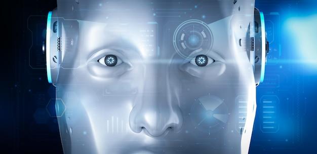 3d-rendering cyborg of robot die werkt met hud of grafische weergave