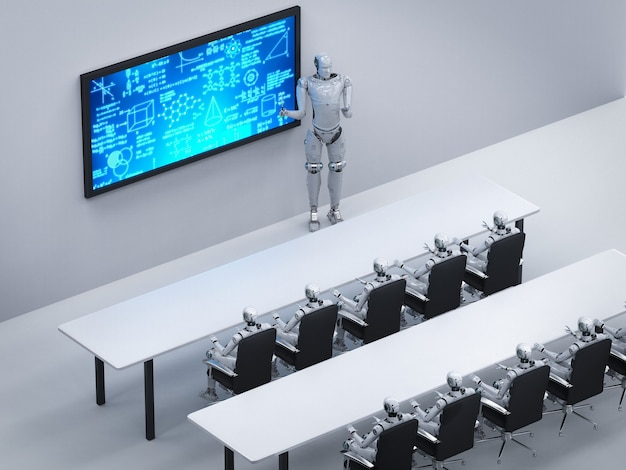 3d-rendering cyborg-onderwijs in klaslokaal of trainingsruimte