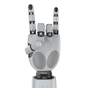 3d-rendering cyborg rock hand teken geïsoleerd op wit