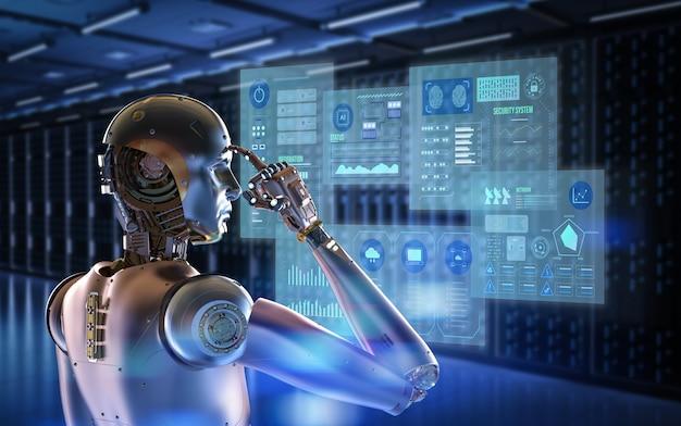 3d-rendering cyborg werkt met virtuele grafische weergave in serverruimte