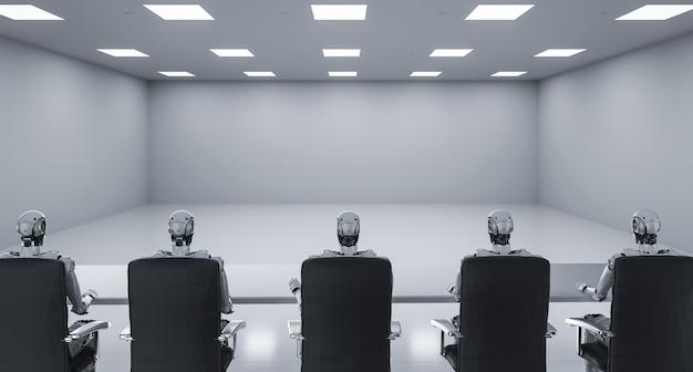 3d-rendering cyborgs zitten op een rij in seminarruimte of vergaderruimte