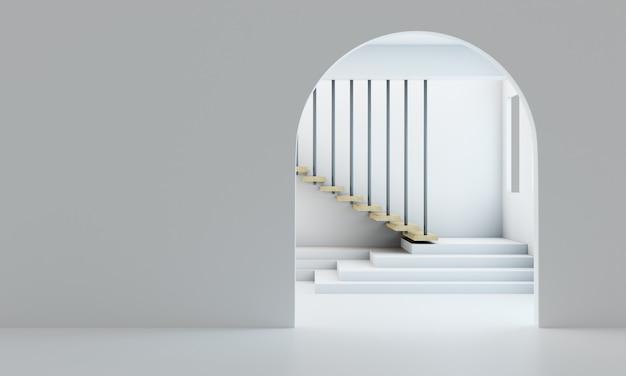 3d-rendering, de deur van het witte huis minimalistische houten trappen
