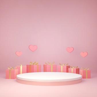 3d-rendering decoratieve geschenkdoos rond productstandaard, liefde en valentijnsdag vieren,