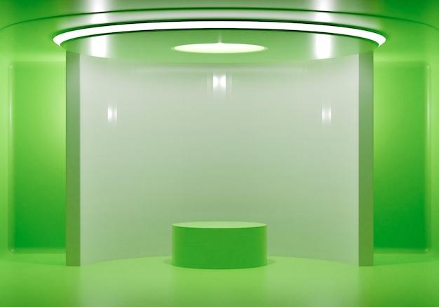3d-rendering display podia mockup in kamer studio geïsoleerde groene kleur