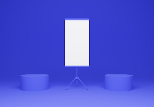 3d-rendering display podia mockup met staande banner