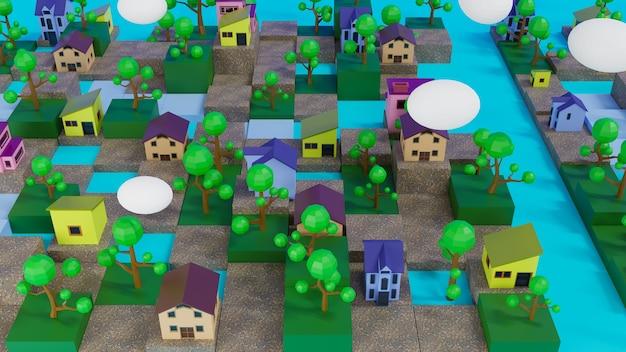 3d-rendering dorp op volwassen kubus en lowpoly boom.