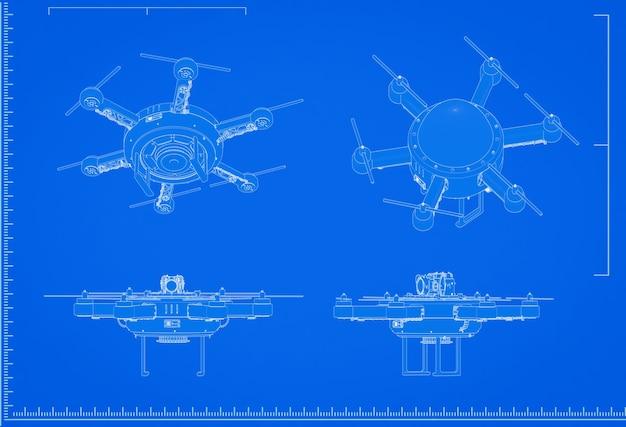 3d-rendering drone blauwdruk met schaal op blauwe achtergrond