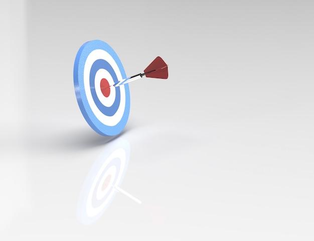 3d-rendering, echt materiaal de pijl buigen voor het doel, concept van het succes van het bedrijfsleven.