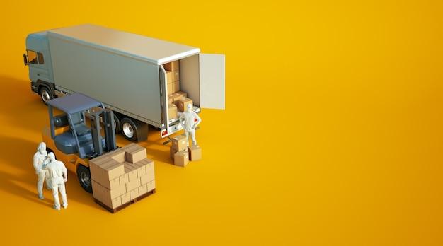 3d-rendering een heftruck laden van dozen in een vrachtwagen met anonieme werknemers