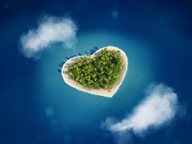 3d-rendering eiland met de hartvorm