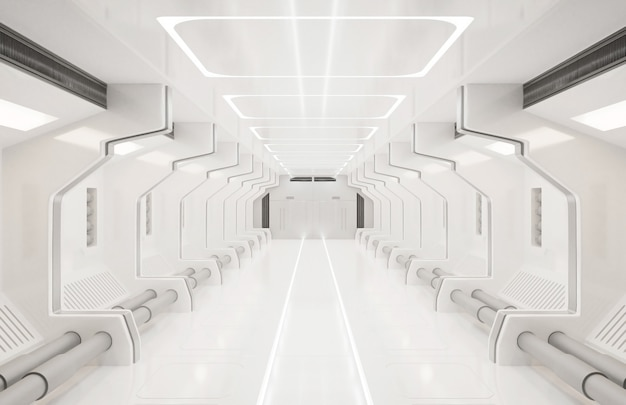 3d-rendering elementen van deze afbeelding ingericht, ruimteschip witte interieur, tunnel, gang, gang