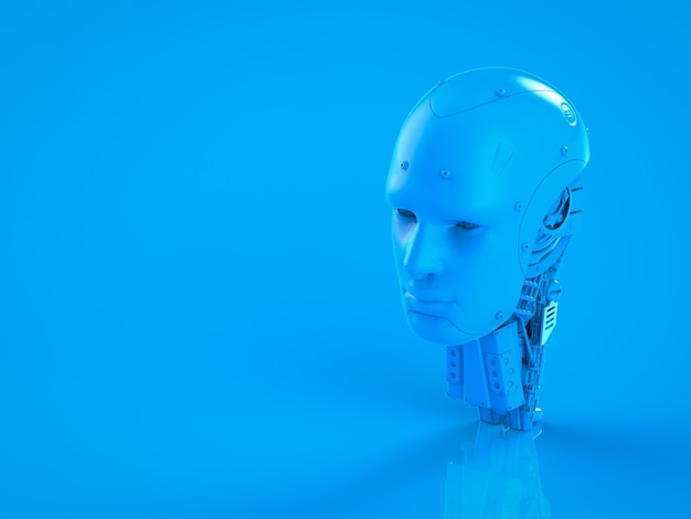 3d-rendering enkele kleur blauwe ai robot op blauwe achtergrond