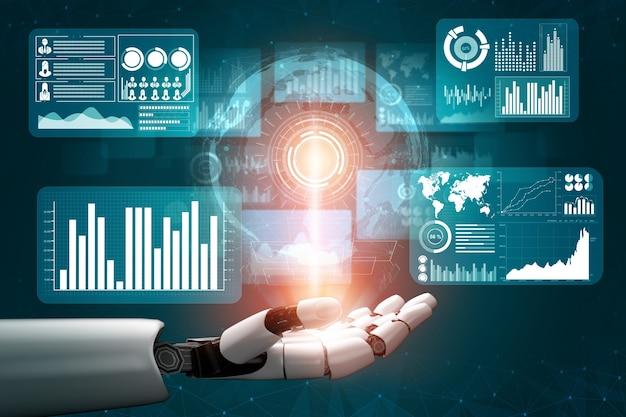 3d-rendering futuristische ontwikkeling van robottechnologie, kunstmatige intelligentie ai en machine learning-concept. wereldwijd robotachtig bionisch wetenschappelijk onderzoek voor de toekomst van het menselijk leven.