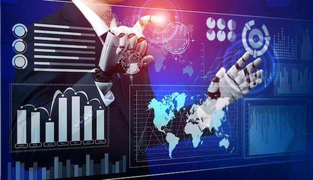 3d-rendering futuristische ontwikkeling van robottechnologie, kunstmatige intelligentie ai en machine learning-concept
