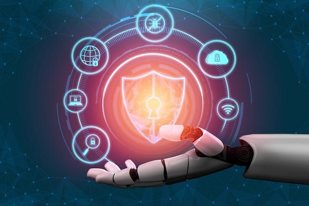 3d-rendering futuristische ontwikkeling van robottechnologie, kunstmatige intelligentie ai