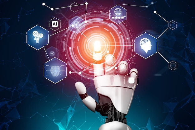 3d-rendering futuristische ontwikkeling van robottechnologie