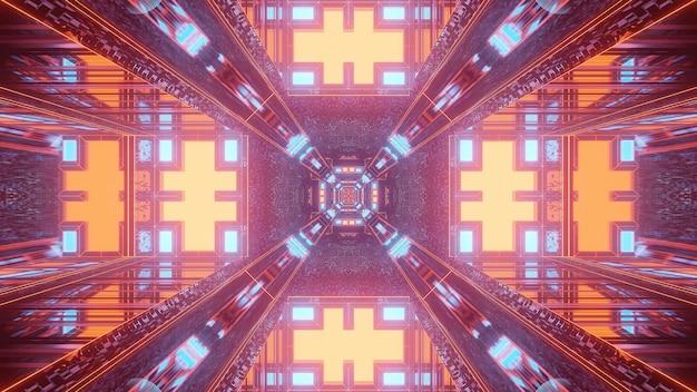 3d-rendering futuristische sci-fi kleurrijke technolampen die coole vormen creëren - een coole achtergrond
