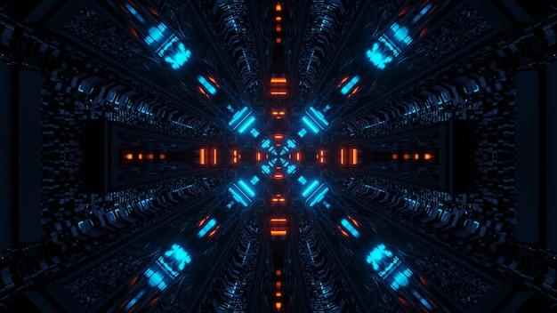 3d-rendering futuristische sci-fi techno lichten een coole achtergrond