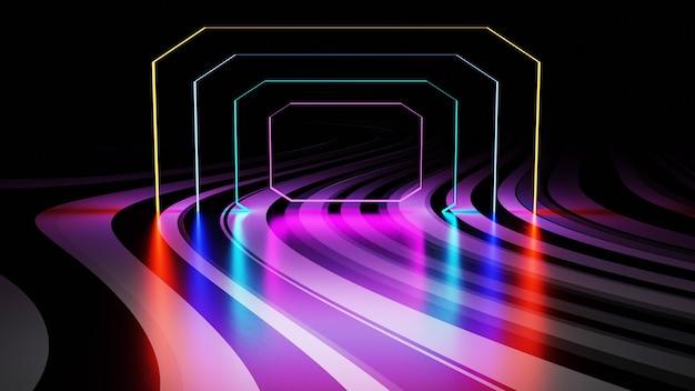 3d-rendering gang samengestelde neon buis gloed abstracte donkere achtergrond