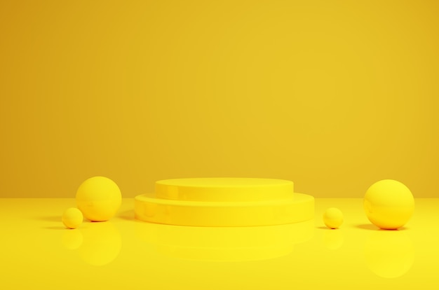 3d-rendering geel podium met bollen