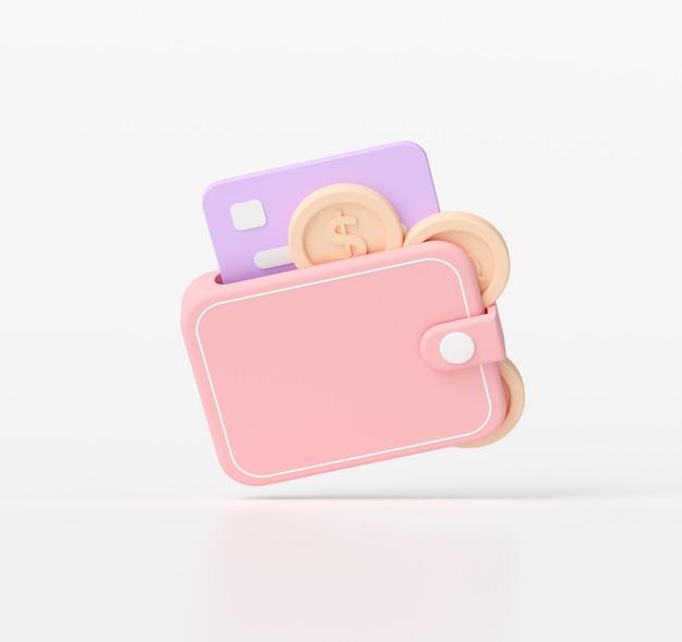 3d-rendering geld besparen concept. portemonnee en munten, creditcard 3d-pictogram.