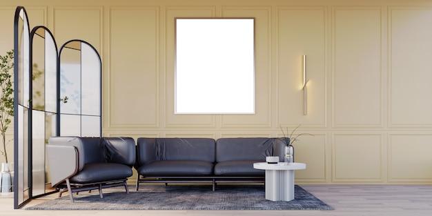 3d rendering gele luxe wandlampen en grote frames tweezits zwarte leren bank zwarte fauteuil