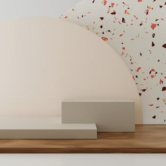3d-rendering geometrie podium met samenvatting voor productvertoning.