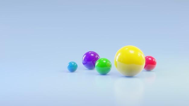 3d-rendering geometrische vormen achtergrond kleurrijke ballen