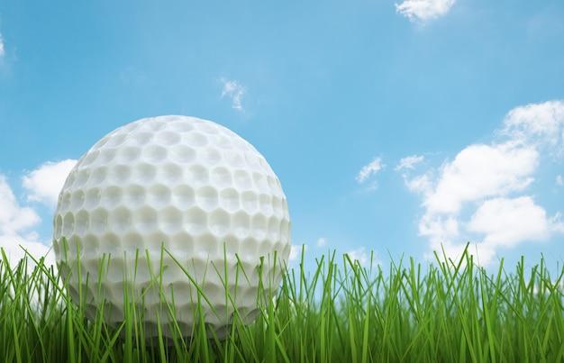 3d-rendering golfbal op groen gras zijaanzicht