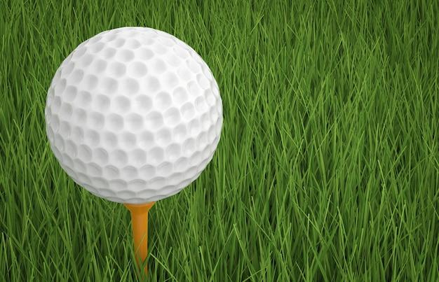 3d-rendering golfbal op tee met groen gras