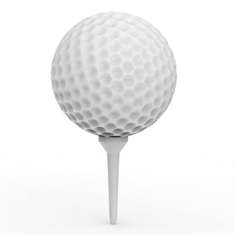 3d-rendering golfbal op tee op witte achtergrond