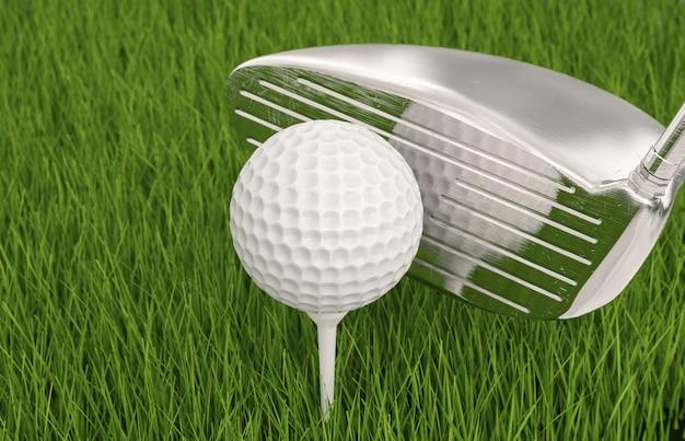 3d-rendering golfclub met golfbal op tee