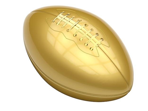 3d-rendering gouden american football bal geïsoleerd op white
