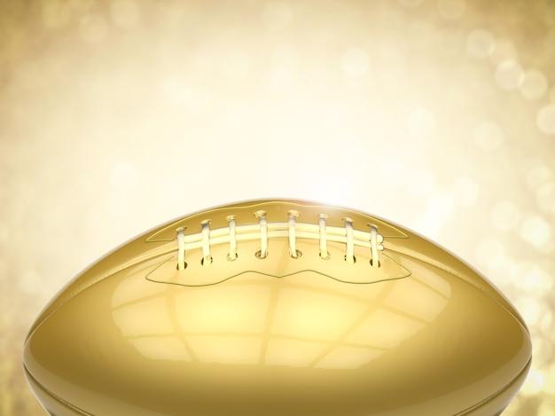 3d-rendering gouden amerikaanse voetbalbal op gouden achtergrond