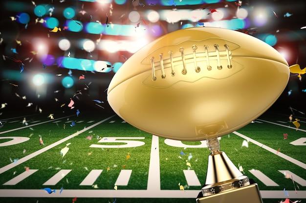 3d-rendering gouden amerikaanse voetbaltrofee met voetbalveldachtergrond
