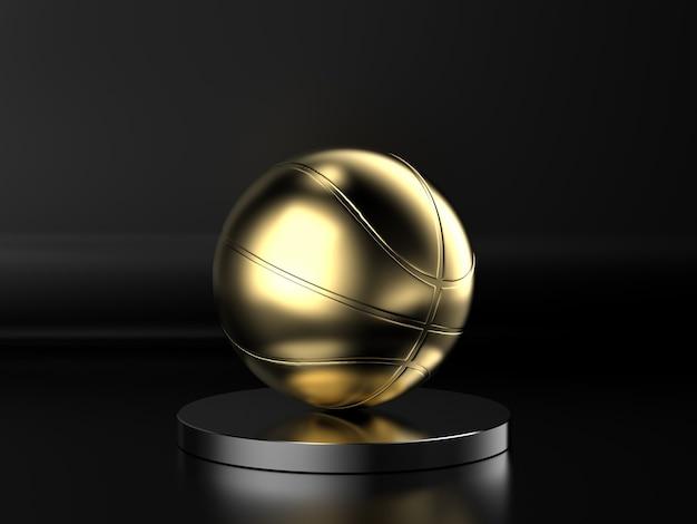 3d-rendering gouden basketbalbal op zwarte achtergrond