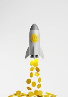 3d-rendering. gouden bitcoin digitale valuta. hoge winst concept. munt vliegen als een raket op witte achtergrond.