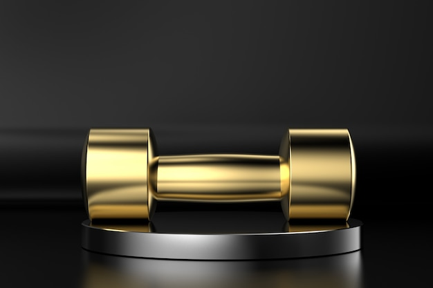 3d-rendering gouden halters op zwarte achtergrond
