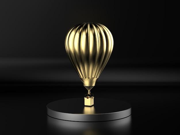 3d-rendering gouden hete luchtballon vliegen op zwarte achtergrond