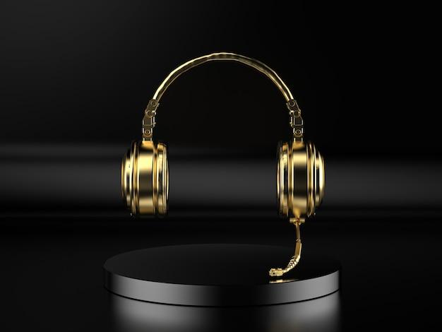 3d-rendering gouden hoofdtelefoon of koptelefoon met microfoon op zwarte achtergrond