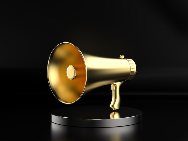 3d-rendering gouden megafoon op het podium met zwarte achtergrond