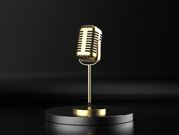 3d-rendering gouden microfoon op het podium met zwarte achtergrond