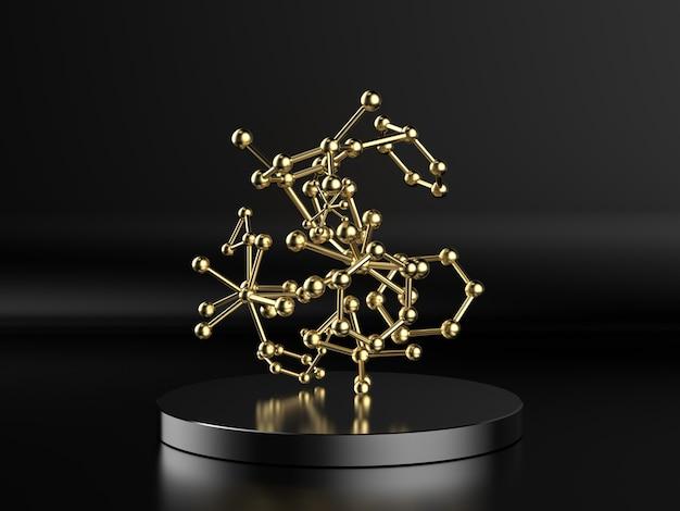 3d-rendering gouden molecuulstructuur op zwarte achtergrond