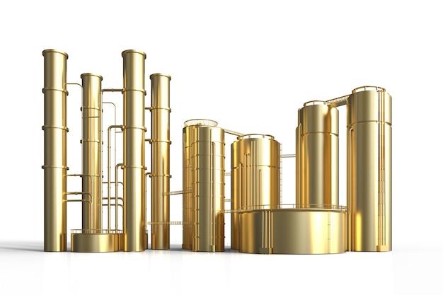 3d-rendering gouden olieraffinaderij plant op witte achtergrond