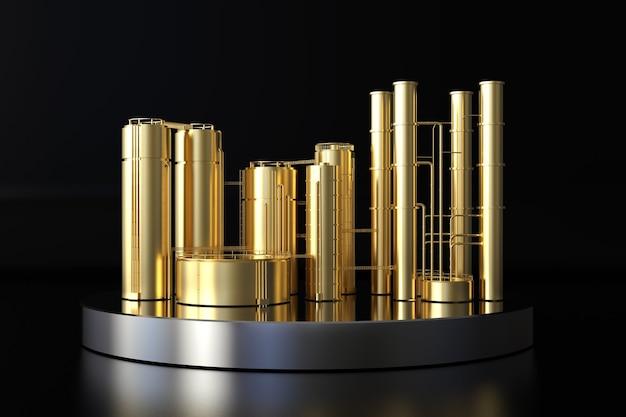 3d-rendering gouden olieraffinaderij plant op zwarte achtergrond